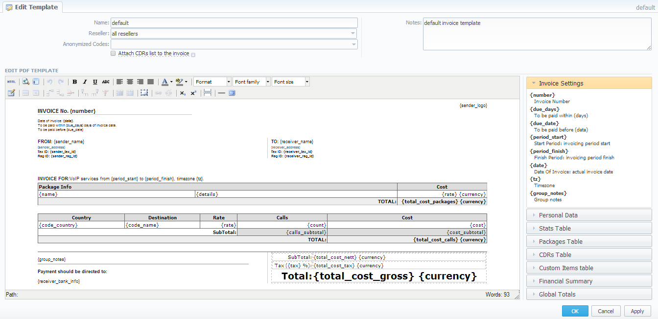 Invoices Templates VCS X JeraSoft Docs - Creating an invoice template